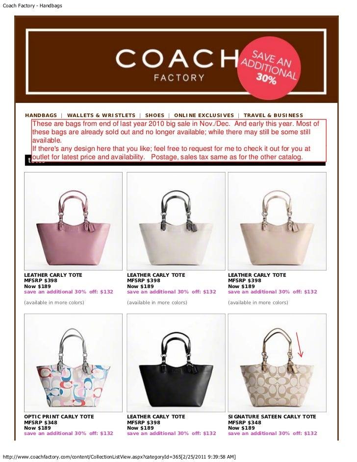 Coach Factory - Handbags Only Feb 25 2011 (Stock Updates)