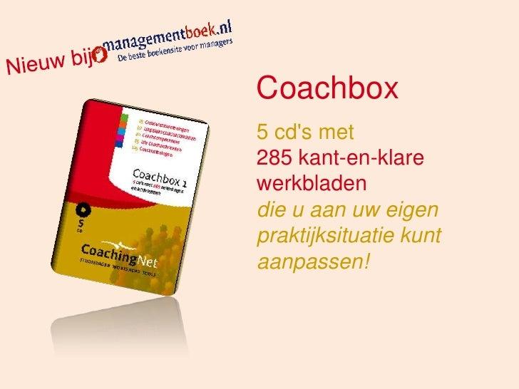 Coachbox 5 cd's met 285 kant-en-klare werkbladen die u aan uw eigen praktijksituatie kunt aanpassen!
