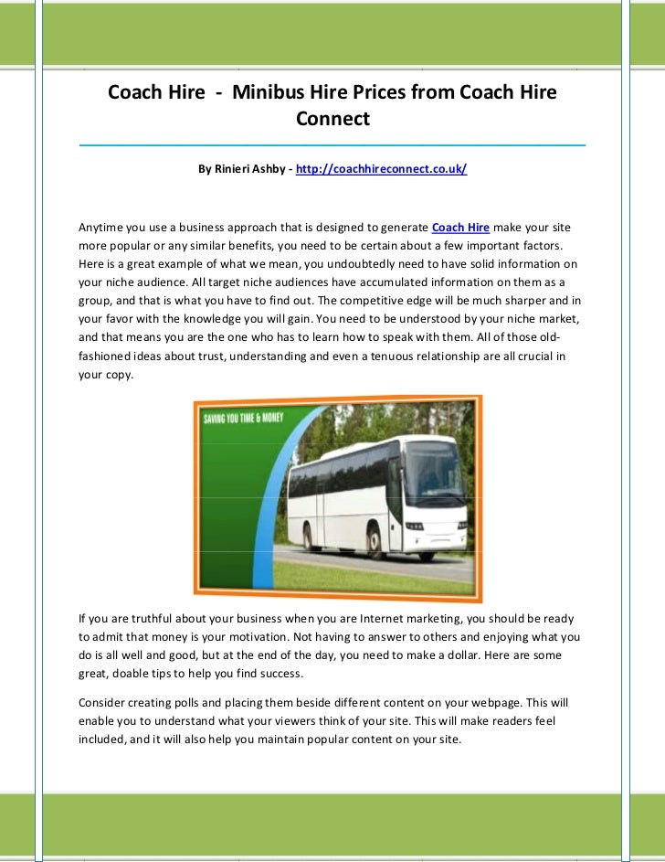 Coach Hire - Minibus Hire Prices from Coach Hire                        Connect___________________________________________...