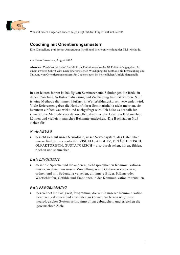 Coaching Mit Orientierungsmustern