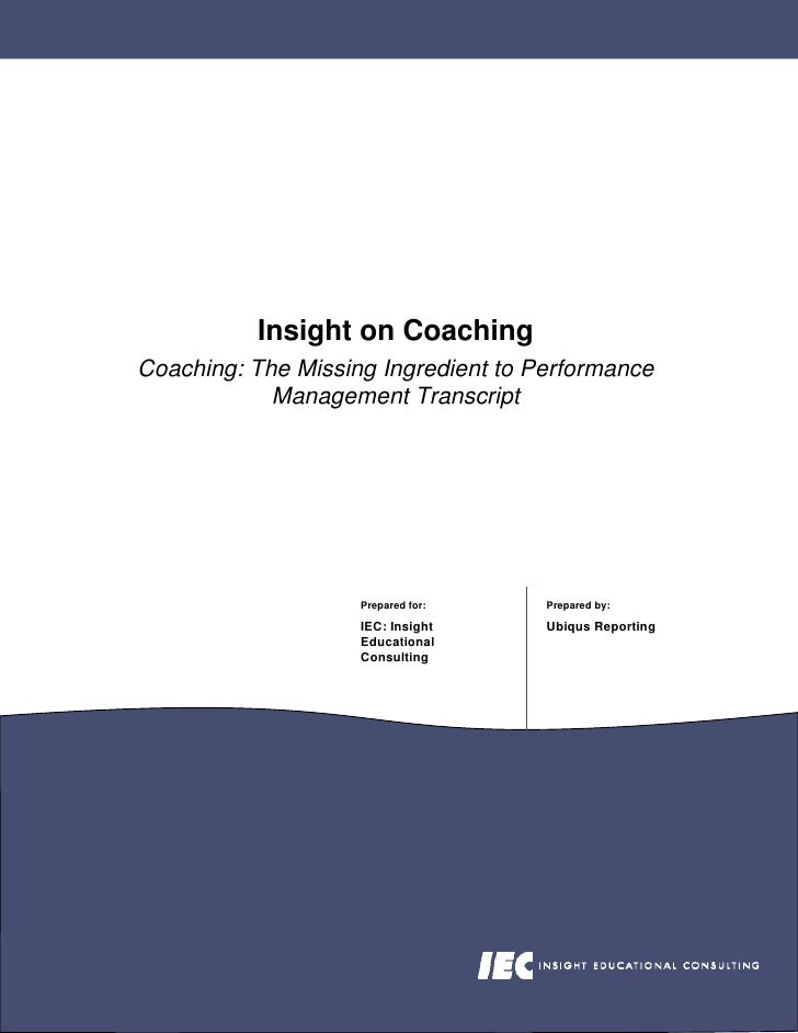 Coaching The Missing Ingredient To Performance Management Transcript