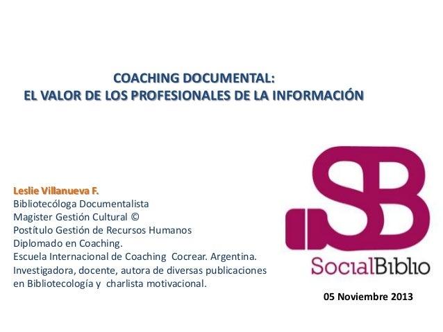 Coaching documental: El valor de los profesionales de la información.