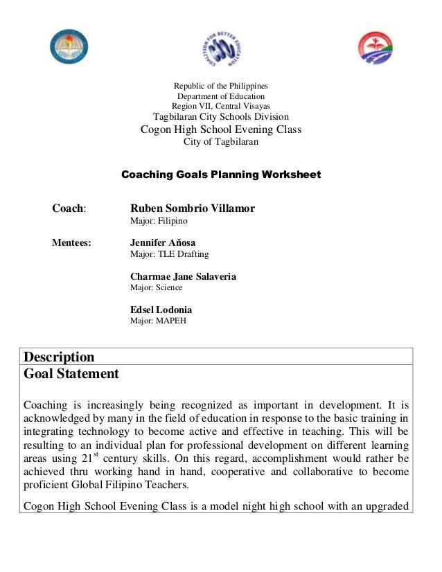 Coaching goals planning worksheet