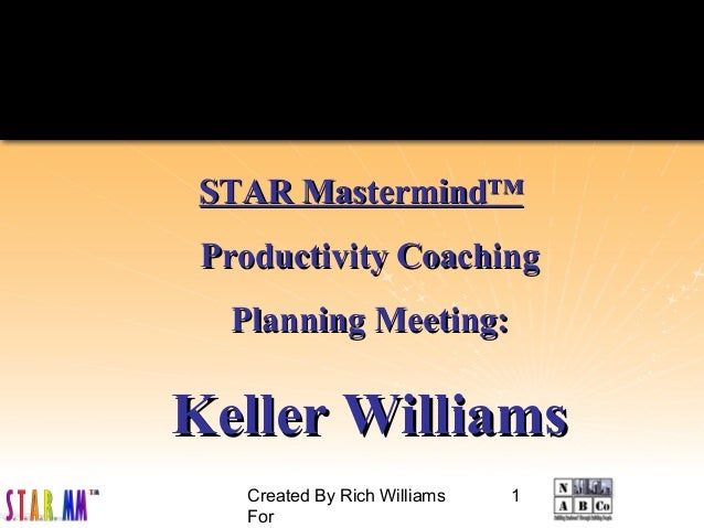 Created By Rich Williams For 1 STAR MastermindSTAR Mastermind™™ Productivity CoachingProductivity Coaching Planning Meetin...