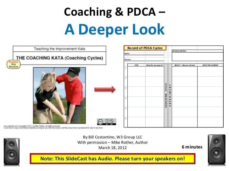 Coaching & PDCA –          A Deeper Look                                       Record of PDCAPDCA                         ...