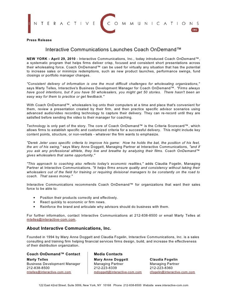 Press Release              Interactive Communications Launches Coach OnDemand™ NEW YORK - April 29, 2010 - Interactive Com...