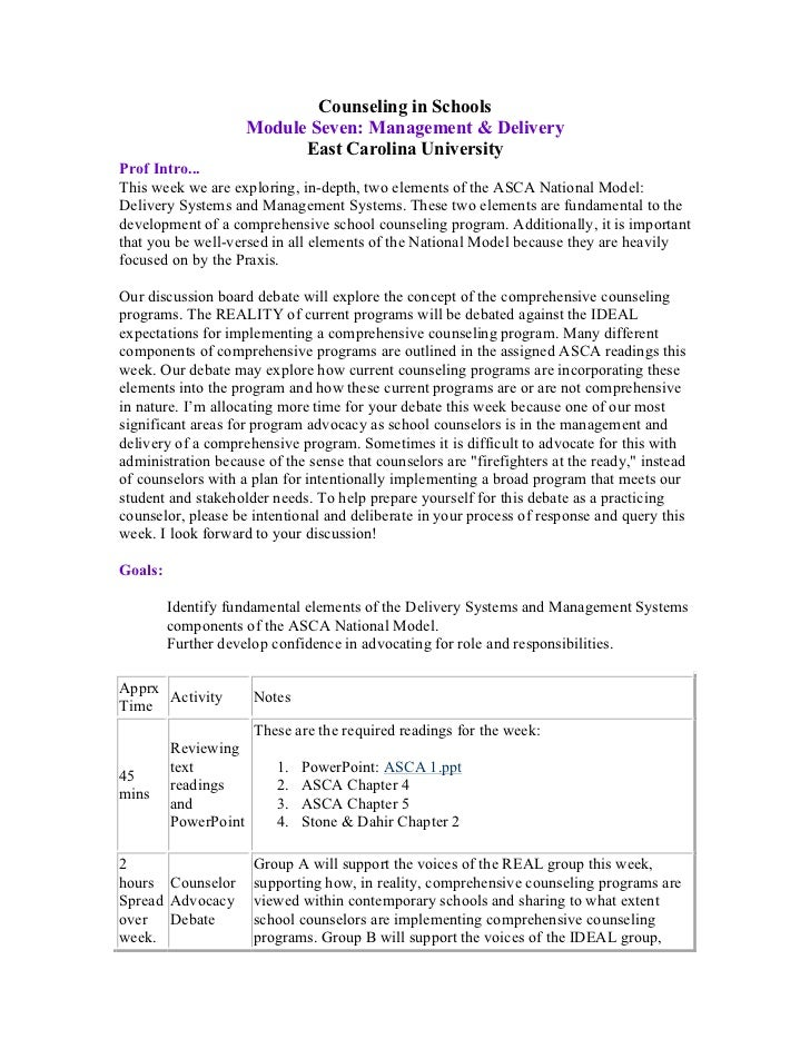 Counseling in Schools                      Module Seven: Management & Delivery                            East Carolina Un...