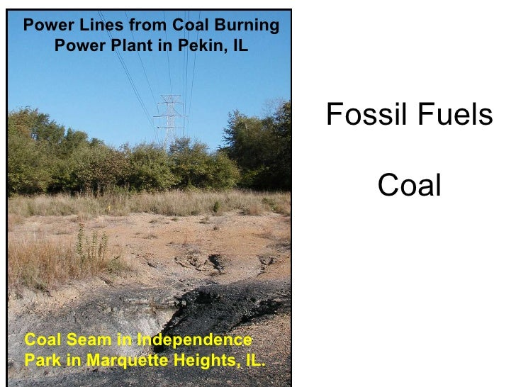 Fossil Fuels Coal Coal Seam in Independence Park in Marquette Heights, IL . Power Lines from Coal Burning Power Plant in P...