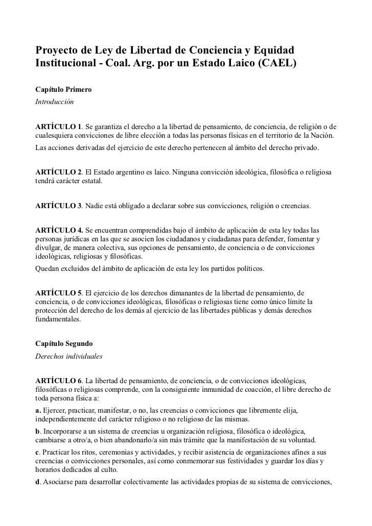 Proyecto de Ley de Libertad de Conciencia y EquidadInstitucional - Coal. Arg. por un Estado Laico (CAEL)Capítulo PrimeroIn...