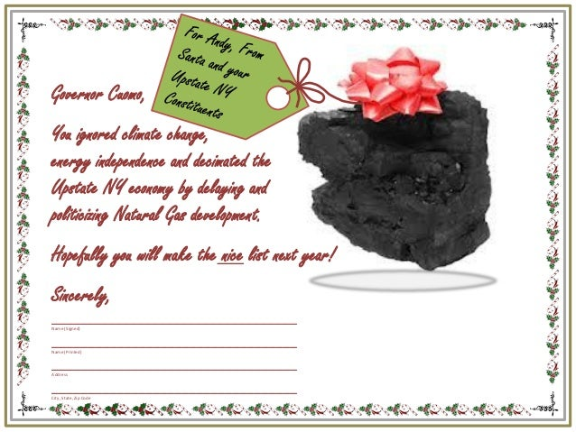 JLCNY Coal Postcard for NY Gov. Andrew Cuomo