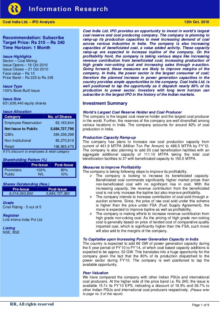 Coal India Ltd. – IPO Analysis                                                                               13th Oct. 201...