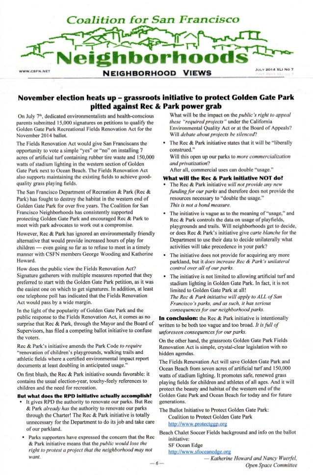 Coalition for sf neighborhoods   golden gate park -- ballot