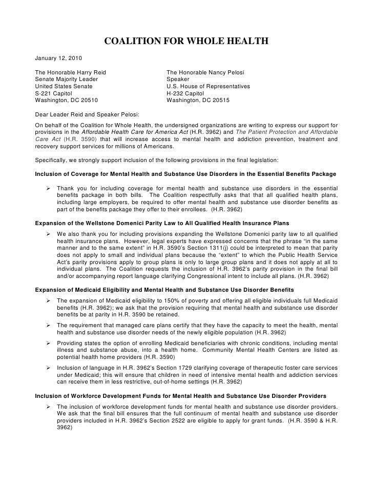 Coalition For Whole Health Letter