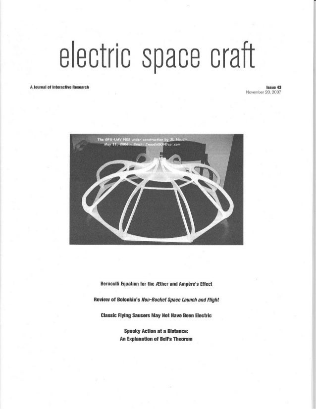 Coanda Effect Saucer explained in the ESJ (Electric Spacecraft Journal)