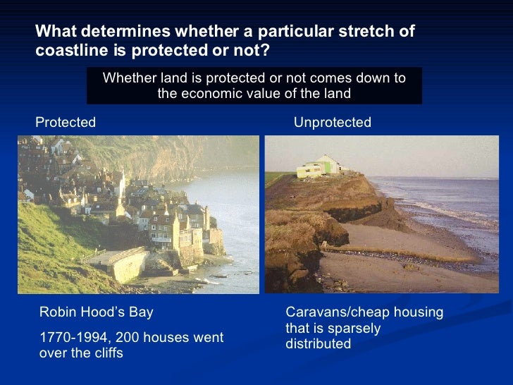 What determines whether a particular stretch of coastline is protected or not? Protected  Unprotected Robin Hood's Bay 177...