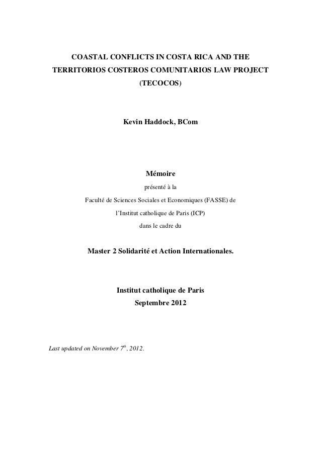 COASTAL CONFLICTS IN COSTA RICA AND THE TERRITORIOS COSTEROS COMUNITARIOS LAW PROJECT                                 (TEC...