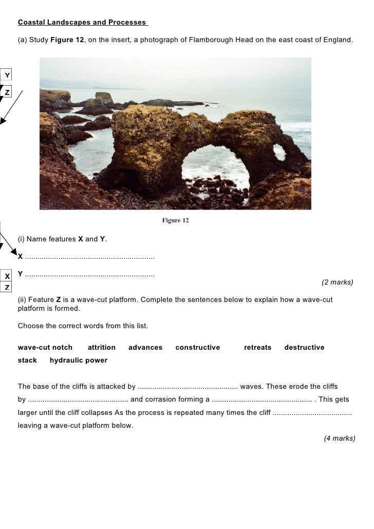 Coastal Landscapes and Processes      (a) Study Figure 12, on the insert, a photograph of Flamborough Head on the east coa...