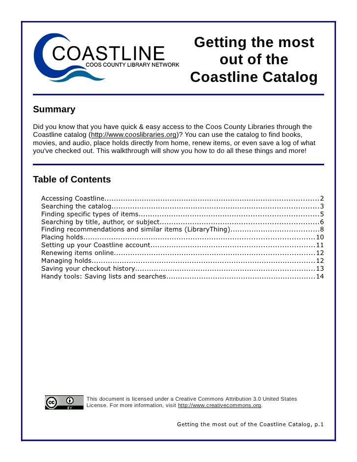 Using the Coastline library catalog