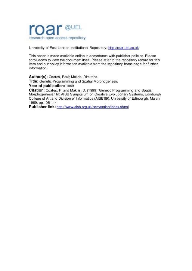 Coates p: genetic programming and spatial morphogenesis