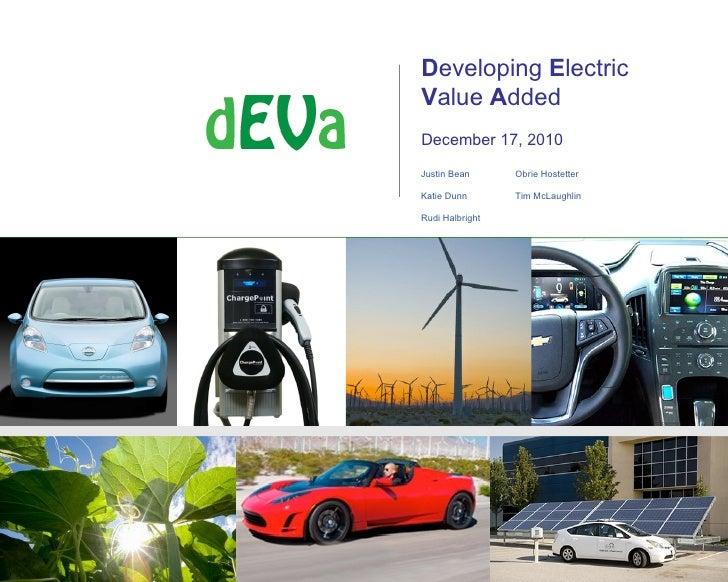 Developing ElectricValue AddedDecember 17, 2010Justin Bean      Obrie HostetterKatie Dunn       Tim McLaughlinRudi Halbright