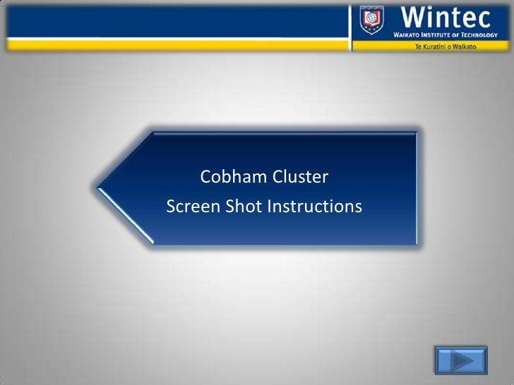 Cobham Cluster Screen Shot Instructions