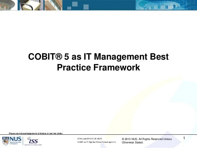 COBIT 5 as an IT Management Best Practices Framework - by Goh Boon Nam