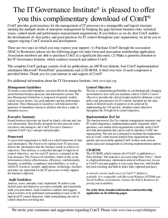 Cobit regulations
