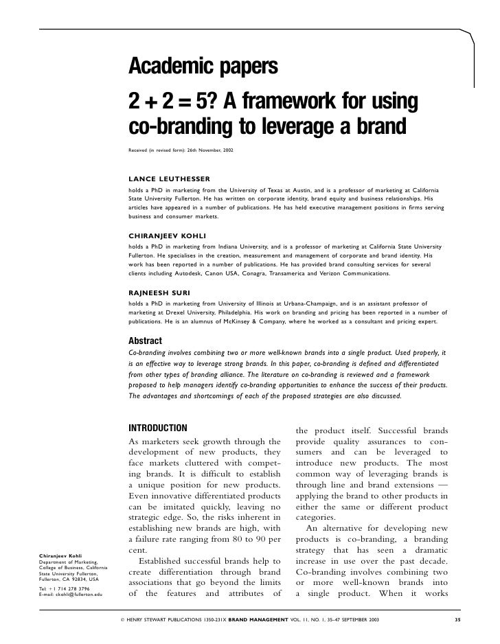 Academic papers                                   2 + 2 = 5? A framework for using                                   co-br...