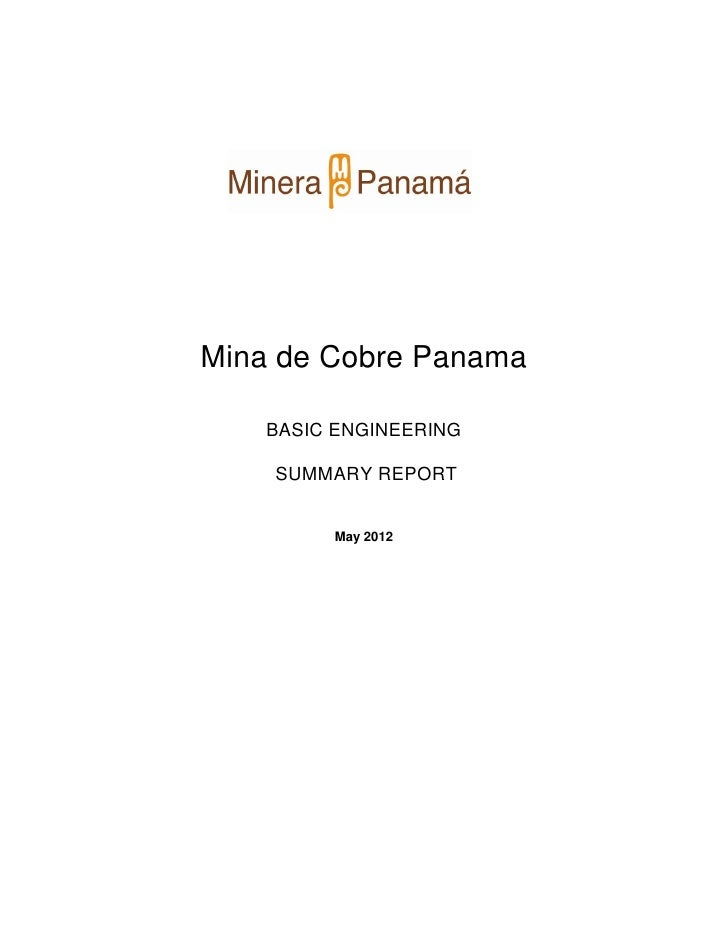 Cobre Panama Basic Engineering Summary Report