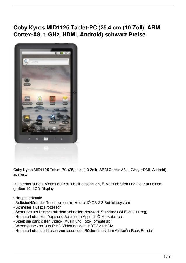 Coby Kyros MID1125 Tablet-PC (25,4 cm (10 Zoll), ARMCortex-A8, 1 GHz, HDMI, Android) schwarz PreiseCoby Kyros MID1125 Tabl...