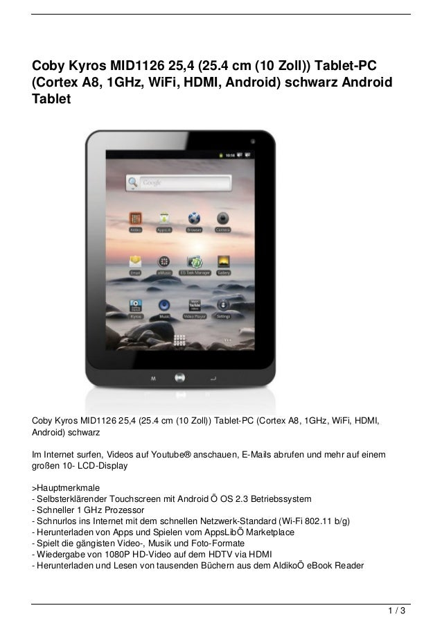 Coby Kyros MID1126 25,4 (25.4 cm (10 Zoll)) Tablet-PC(Cortex A8, 1GHz, WiFi, HDMI, Android) schwarz AndroidTabletCoby Kyro...