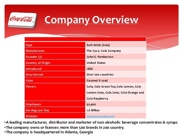 coca cola overview Brands overview we produce, sell and distribute coca‑cola, the best-known and biggest-selling soft drink in history coca‑cola hbc is one of the world's largest bottlers of products of the coca‑cola company.