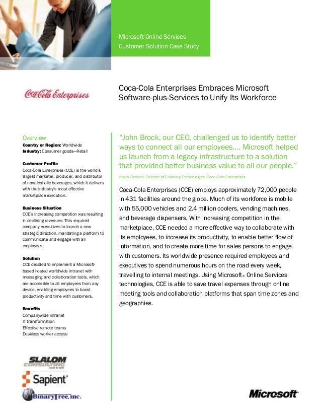 Coca Cola Enterprises Embraces Microsoft Software Plus Services to Unify its Workforce Case Study