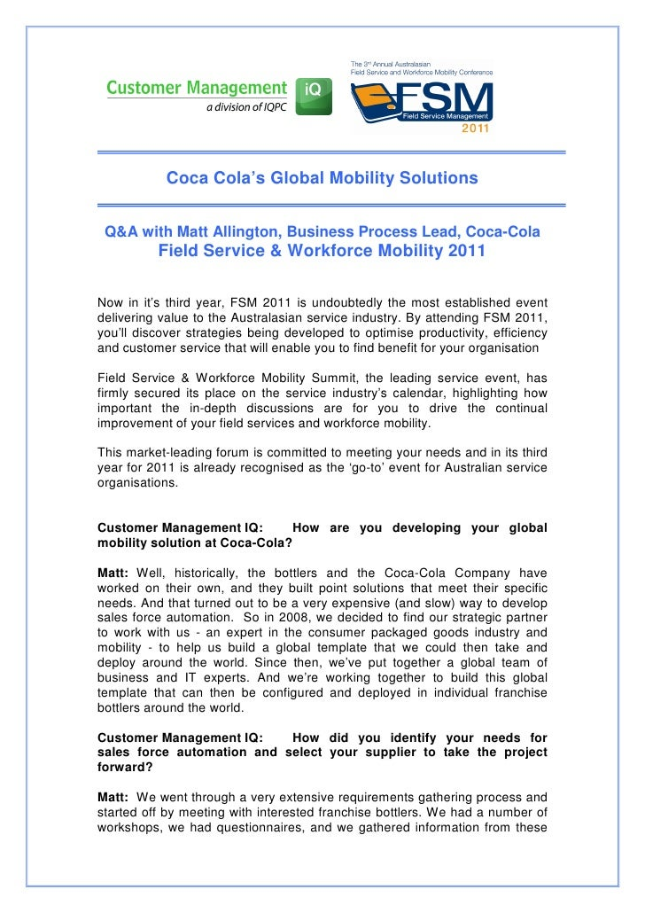 Coca Cola's Global Mobility Solutions Q&A with Matt Allington, Business Process Lead, Coca-Cola          Field Service & W...