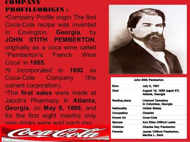historical background of coca cola Coca cola was invented by doctor john pembert - learn the history of coca cola  and other soft drinks.