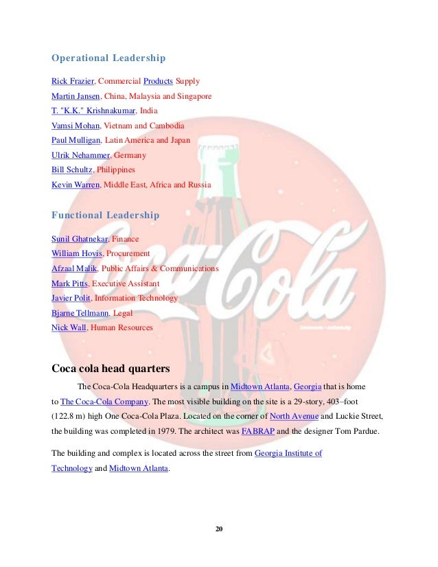 """coca cola india mba report Project report on coca-cola company and study  cola brands with reference to coca-cola india"""" this report has been  mba 525."""