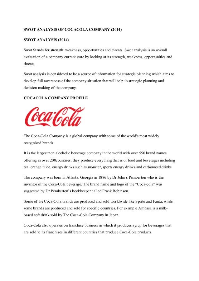 Coca Cola SWOT Analysis Case Study - Assignment Help
