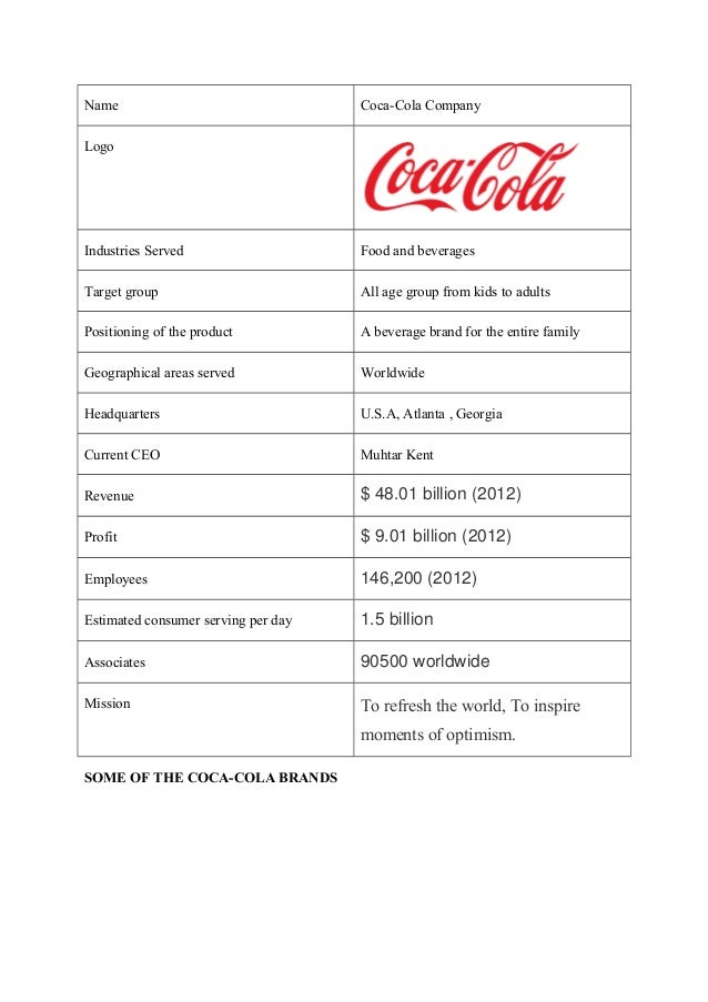 coca cola industrial analysis The coca-cola company revenue and financial data – get complete financial information for the coca-cola company from hoover's industry analysis.