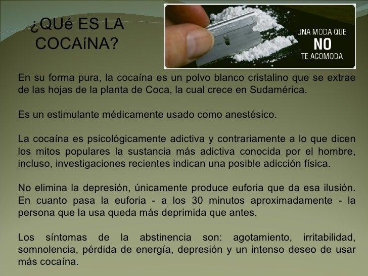 ¿QUé ES LA    COCAíNA? En su forma pura, la cocaína es un polvo blanco cristalino que se extrae de las hojas de la planta ...