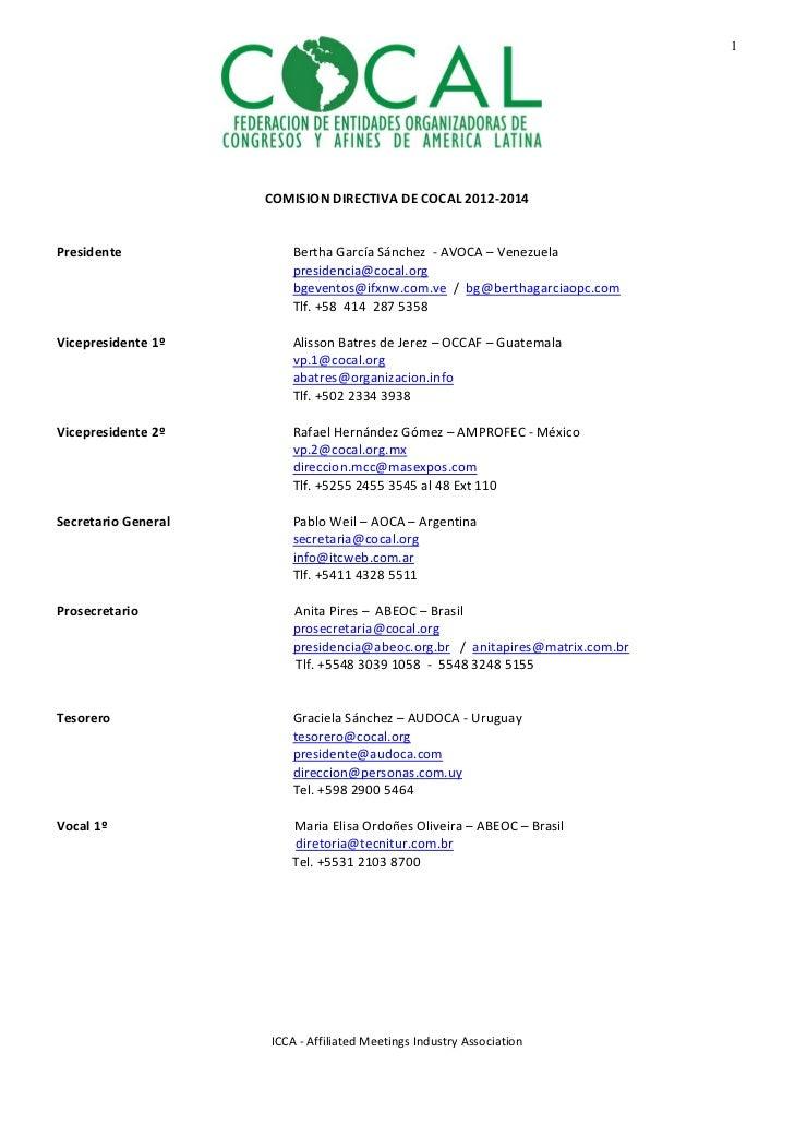 1                                             COMISIONDIRECTIVADECOCAL2012‐2014Presidente                       ...
