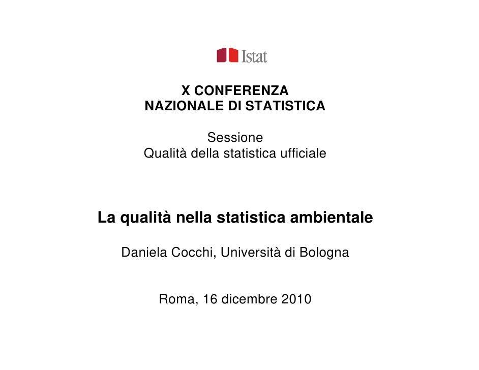 D. Cocchi: La qualità nella statistica ambientale
