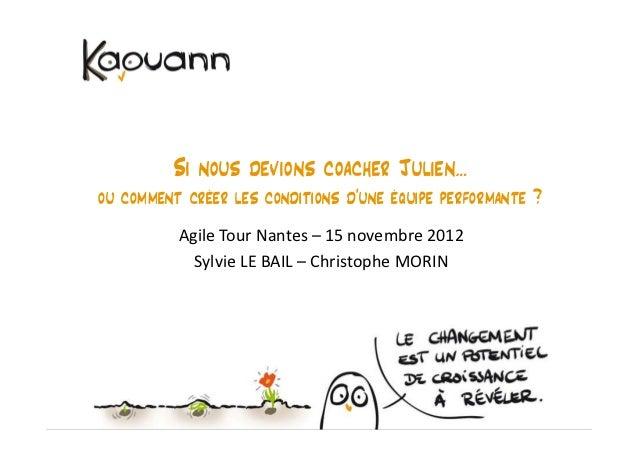 Si nous devions coacher Julien…ou comment créer les conditions d'une équipe performante ?          Agile Tour Nantes – 15 ...
