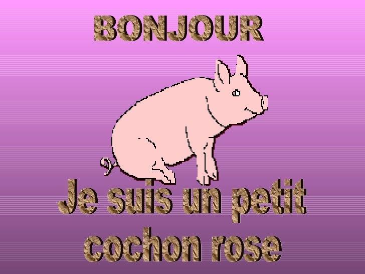 Je suis un petit cochon rose BONJOUR