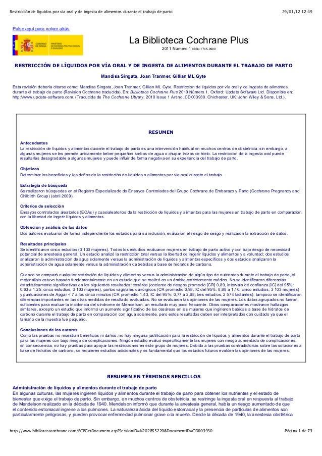 Restricción de líquidos por vía oral y de ingesta de alimentos durante el trabajo de parto                                ...