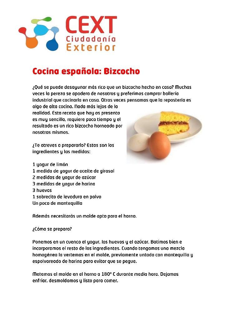 Cocina española: bizcocho