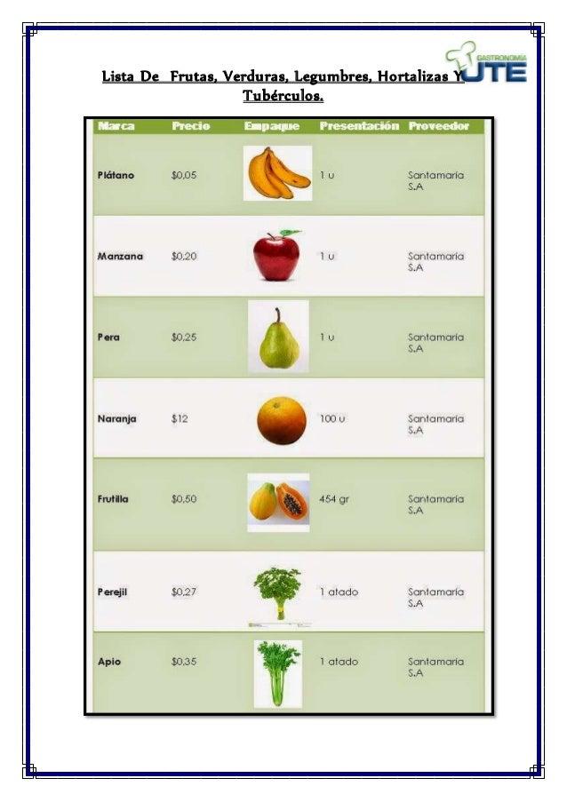 Proceso de elaboracion del morocho lista de productos - Verduras lista de nombres ...