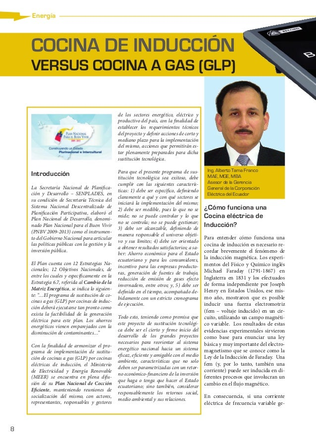 Energía  COCINA DE INDUCCIÓN VERSUS COCINA A GAS (GLP) de los sectores energético, eléctrico y productivo del país, con la...