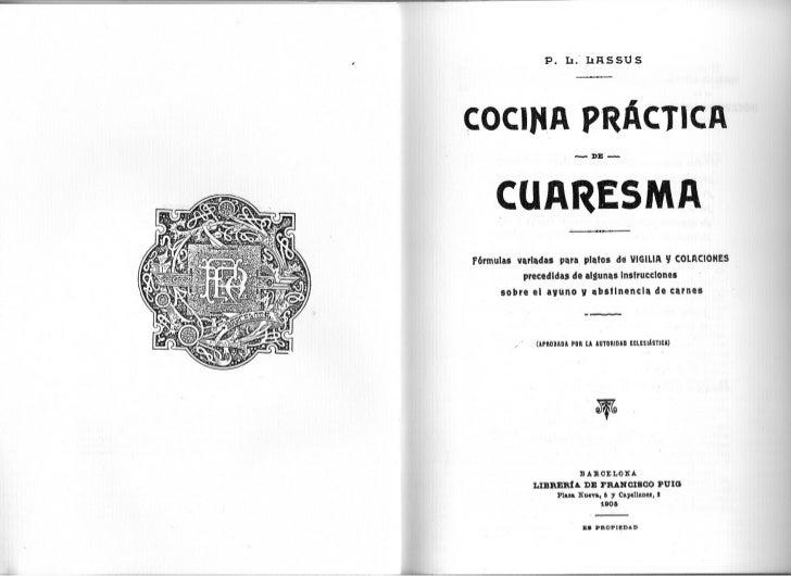 P. 11. 11RSSUSCOCIJ4A PRAcTICA                              -DE-    CUA~ESMAf6rmulas variadas para platos de VIGILIA Y COL...
