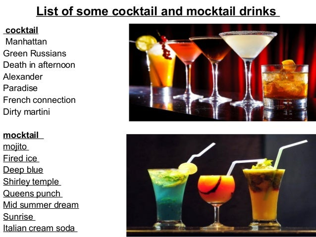 Cocktail and mocktail for List of alcoholic mixed drinks