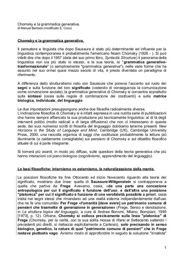 Chomsky e la grammatica generativa. di Manuel Barbera (modificato E. Coco)  Chomsky e la grammatica generativa. Il pensato...